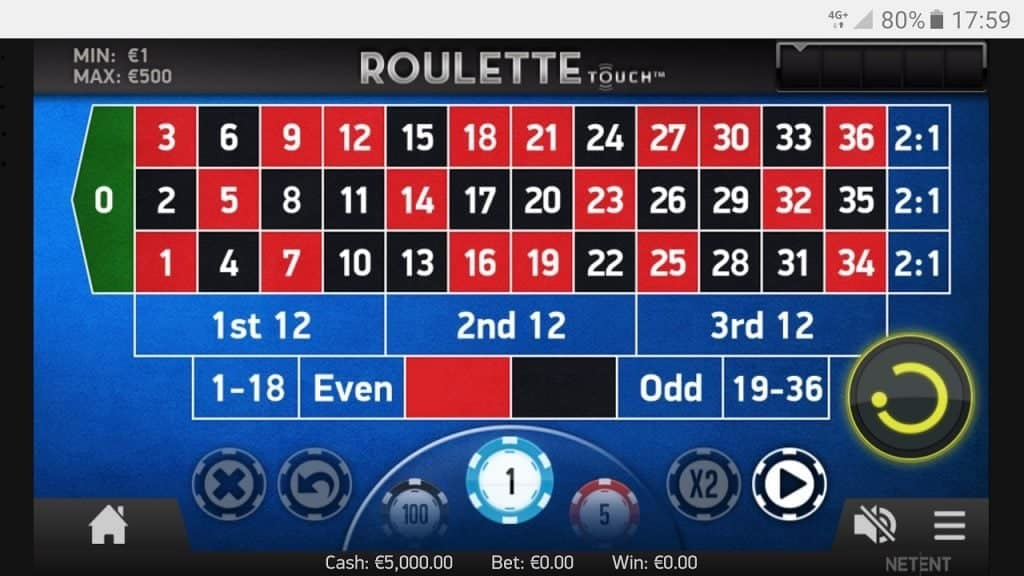 Inzetveld touchscreen roulette