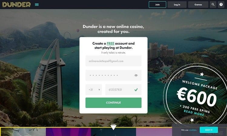 Website van Dunder Casino