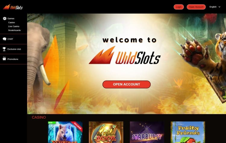 Website van Wild Slots