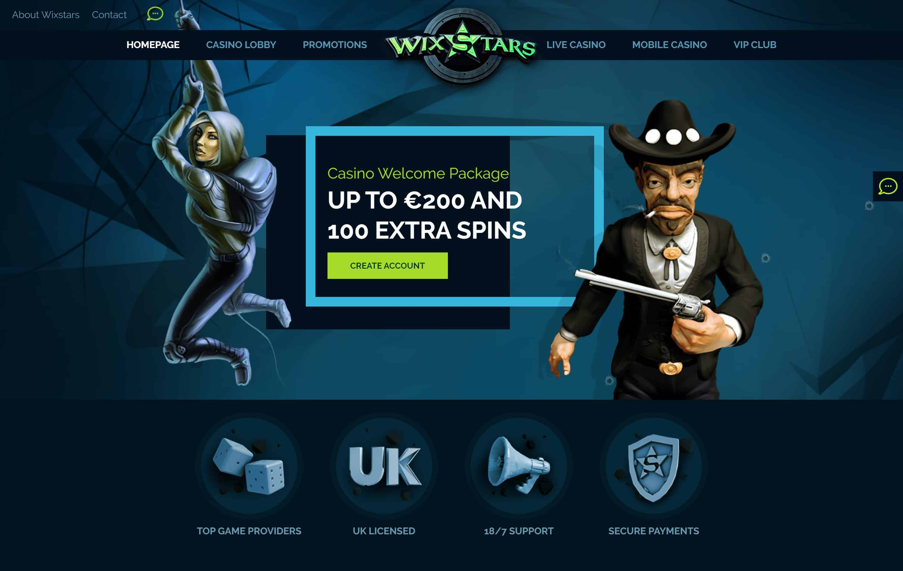 Screenshot van Wixstars casino