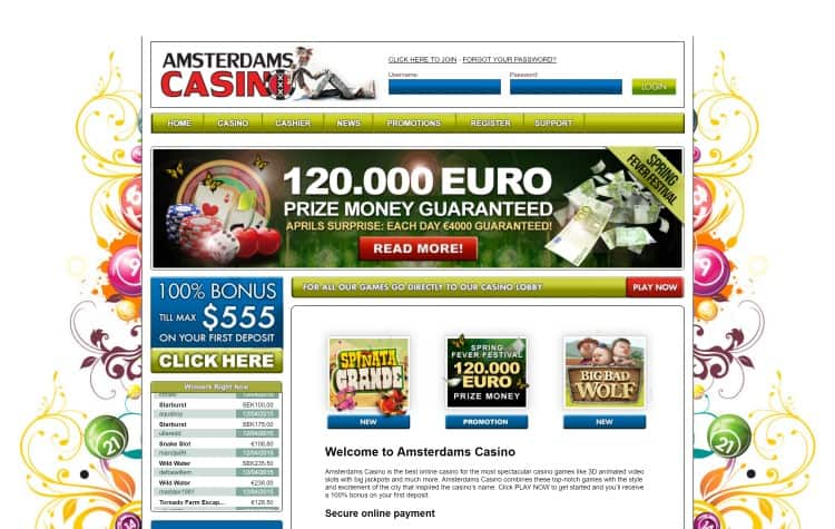 Website van Amsterdams Casino