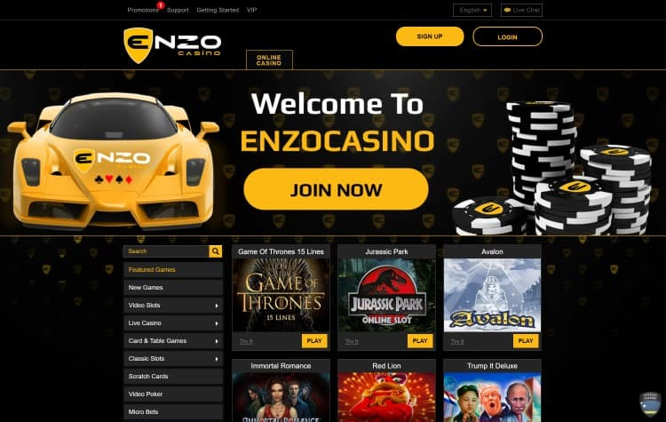 De website van Enzo Casino