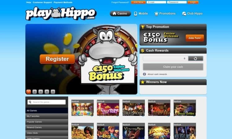 De website van PlayHippo Casino