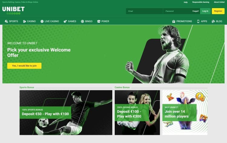 Website van Unibet Casino