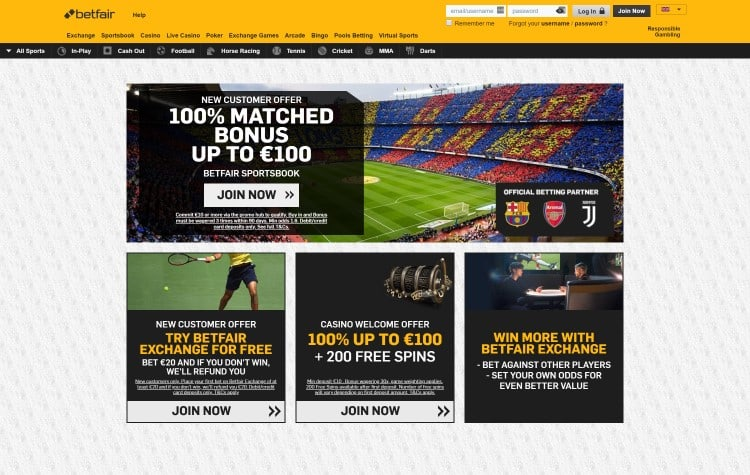 Screenshot van de website van Betfair