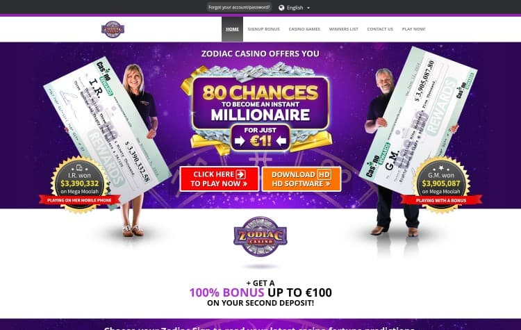 Website van Zodiac Casino