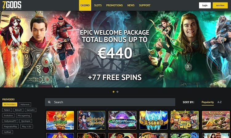 Website van 7 gods casino