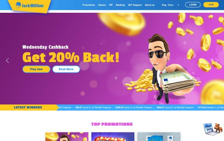 Website van Jackmillion Casino