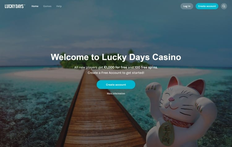 website van lucky days casino