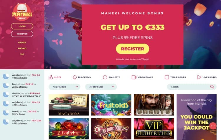website van maneki casino