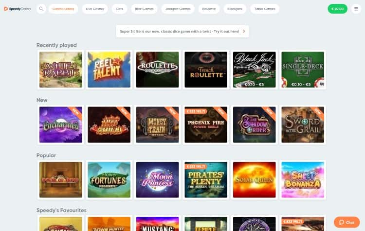 Website van Speedy Casino