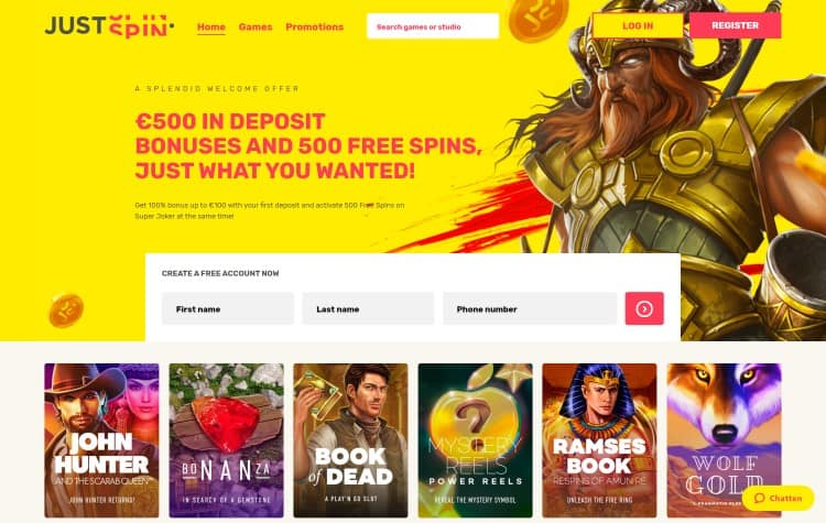 Website van Justspin casino