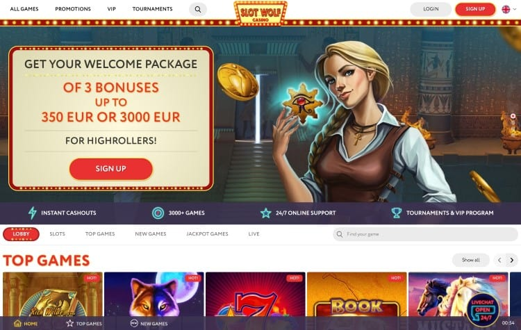 De homepage van Slotwolf Casino