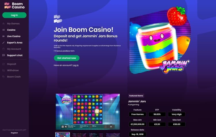 Website van Boom Casino