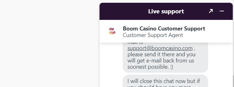 Live chat van Boom Casino