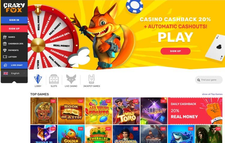 Website van Crazy Fox Casino