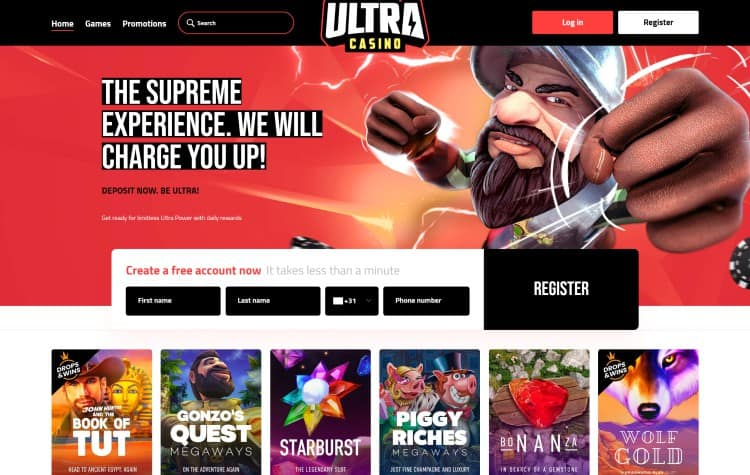 Website van Ultra Casino